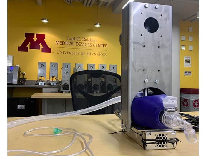 Image of ventilator developed by the University of Minnesota in collaboration with Digi-Key Electronics (Image source: Aaron Tucker, Univ. of Minnesota)